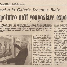 "Galerie ""Jeannine Blais, Canada,1989."